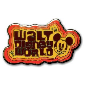 Disney Mickey Pin - Walt Disney World Retro Logo - Orange