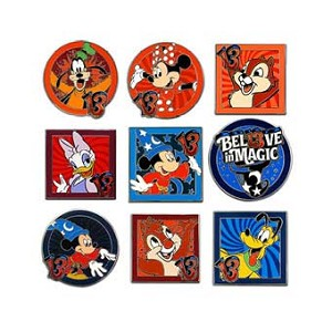 Disney Mystery Pin Set - Dated 2013 - 10 PIN COMPLETE SET