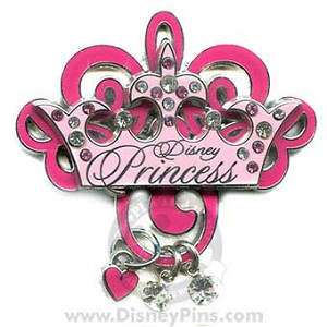 Disney Princess Pin - Crown with Charm Dangles