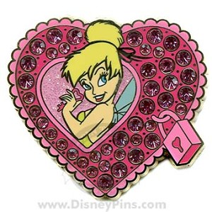 Disney Valentine's Day Pin - Tinker Bell - Locked Heart