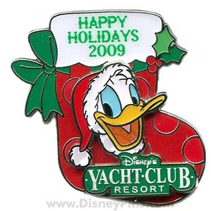 Disney Happy Holidays Pin - 2009 Yacht Club Resort