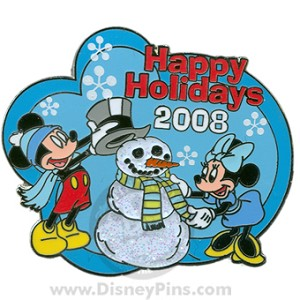 Disney Happy Holidays 2008 Pin Mickey Minnie Snowman Disney Studios