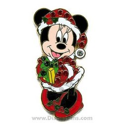Disney Christmas Pin - Minnie Mouse - Jeweled Santa Suit