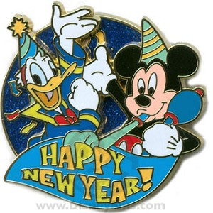 disney happy new year pin mickey donald