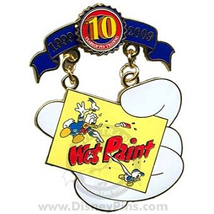 Disney Pin Trading 10th Anniversary Pin - Tribute - Wet Paint