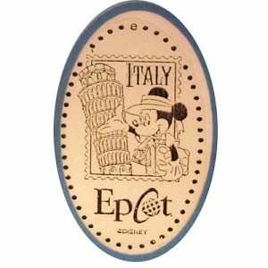 Disney Pressed Penny - Tourist Mickey in front of Tower of Pisa