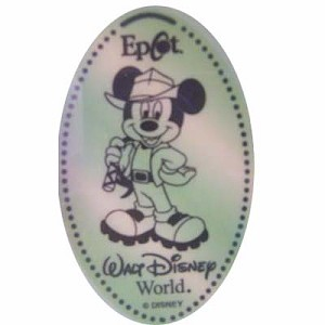 Disney Pressed Penny - Mickey Mouse wearing Indiana Jones style hat