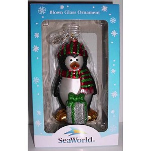 SeaWorld Christmas Ornament - Blown Glass Christmas Penguin