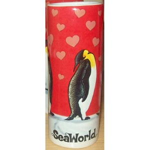 SeaWorld - Tall Shooter Shot Glass - Penguin Family Pink Hearts