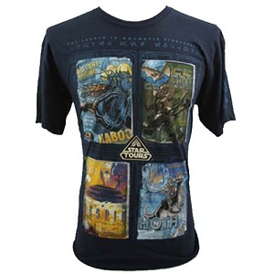 Disney Adult Shirt - Star Wars Logo - STAR TOURS 4 Panel Planet